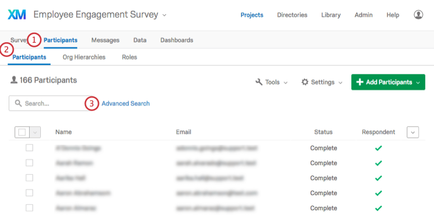 the search bar on the middle-left of the Participants page