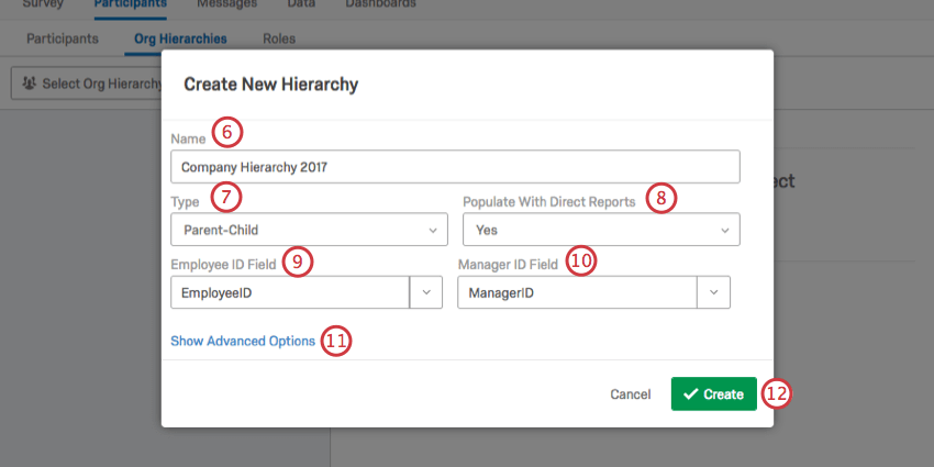 Create New Hierarchy window