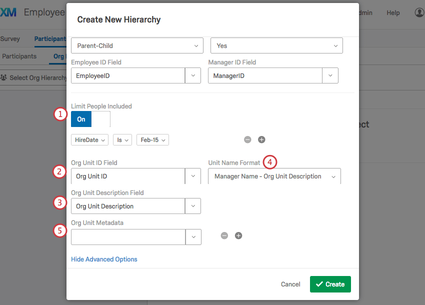 Expanded options on the Create New Hierarchy window