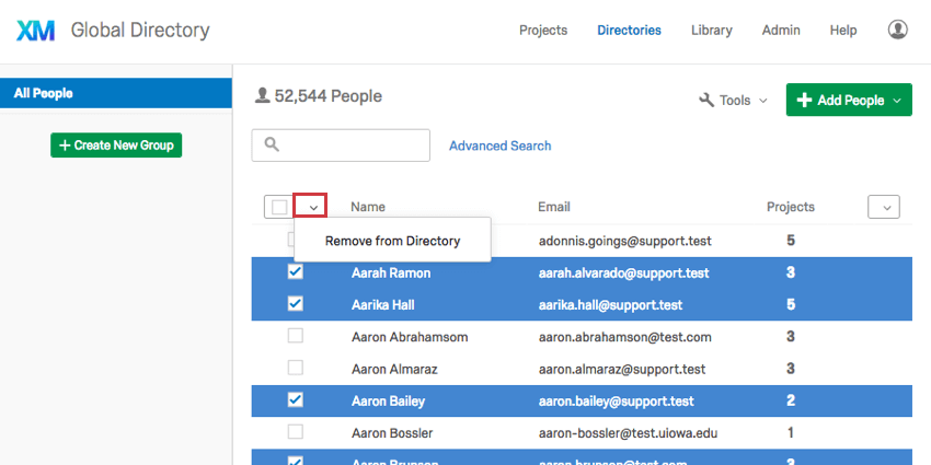 Using the Select All dropdown menu to remove individuals from the directory