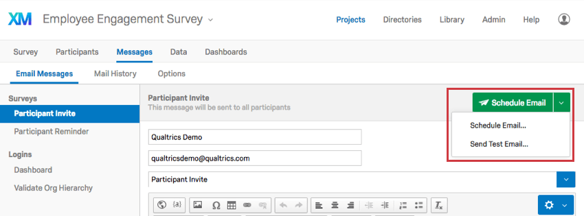 Schedule Email button with a dropdown revealing Schedule Email and Send Test Email options