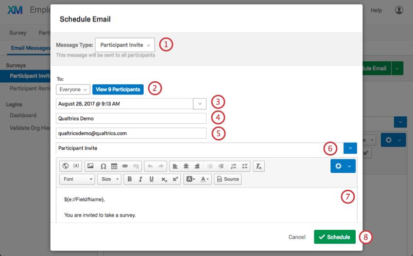 Schedule Email window