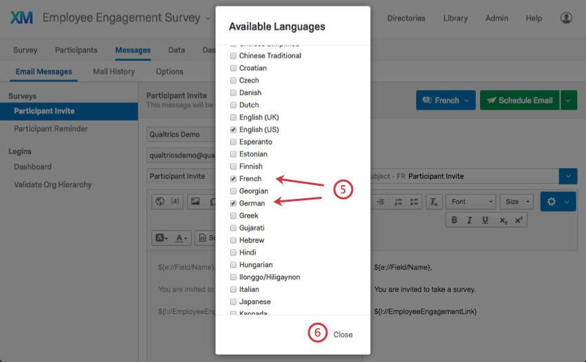 A list of available languages with French and German checked off