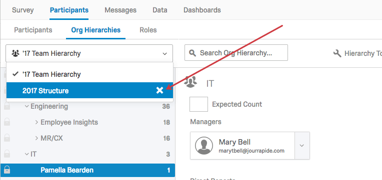 In Hierarchy selection dropdown menu, X button next to name of hierarchy