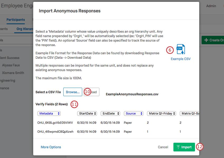 The Import Anonymous Responses window