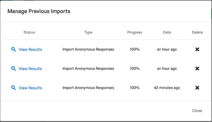 The Manage Previous Imports Window with previous downloads listed by progress, type, and date
