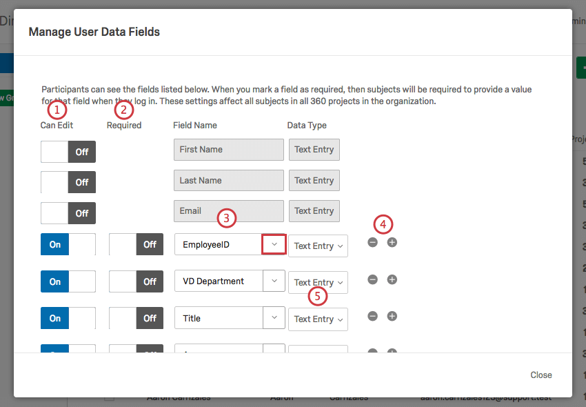 Editing user data fields in the Manage User Data Fields window