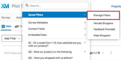 Saved Filters dropdown with Manage Filters option above list of filters
