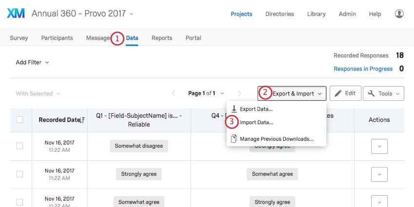 Import Data option within the Export & Import dropdown menu