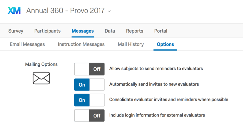 Available Messages Options in the Messages tab