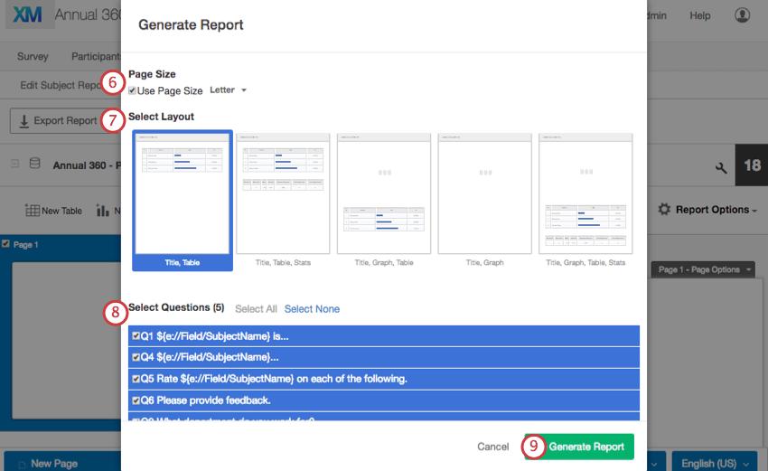 Generate Report pop up window