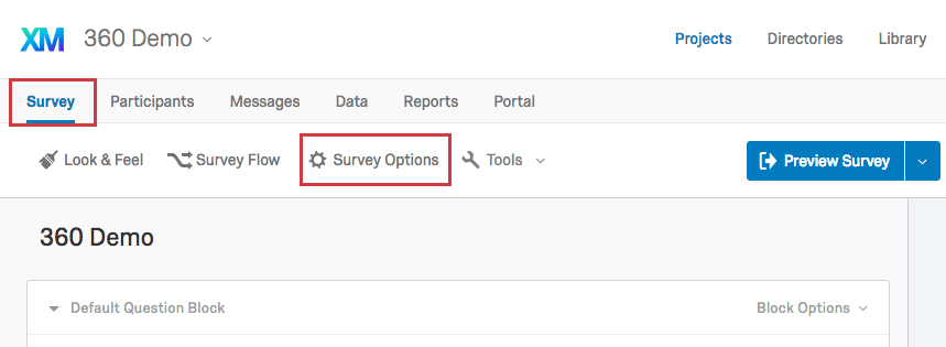 Survey Options button in the Survey tab