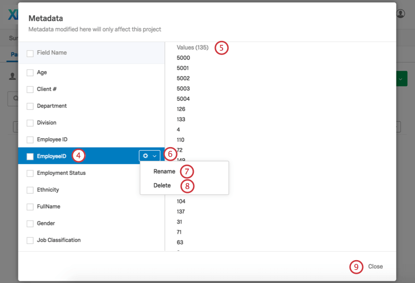 Managing metadata in the metadata pop up window
