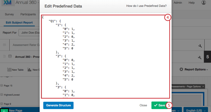 Edit Predefined Data window