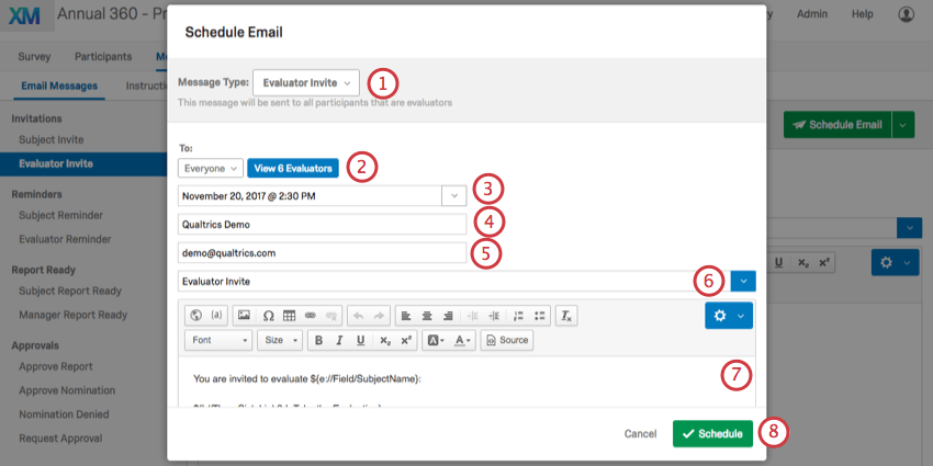 Schedule Email pop up window