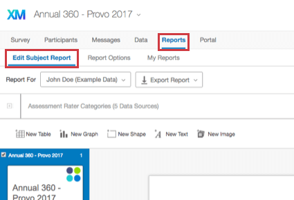Selecting the Edit Subject Report section in the Reports tab