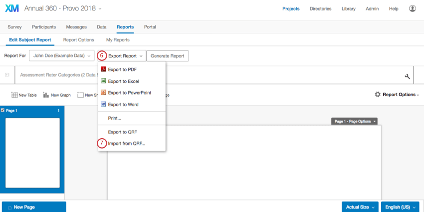 Selecting Export Report from within the subject report