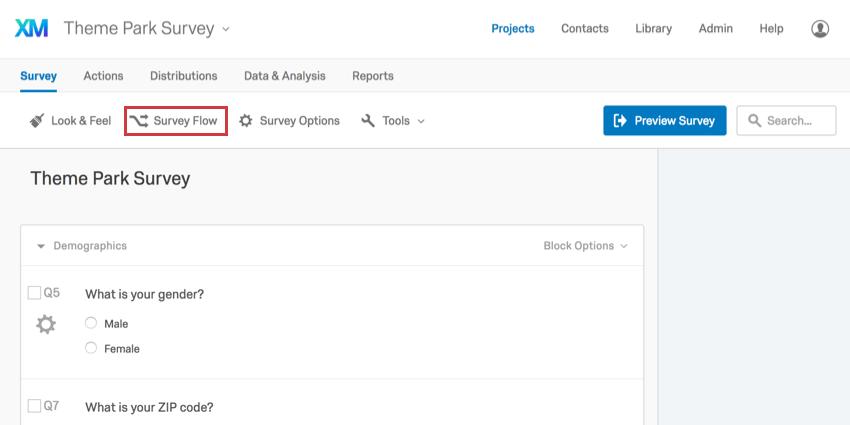 Survey Flow button in upper-left of Survey tab