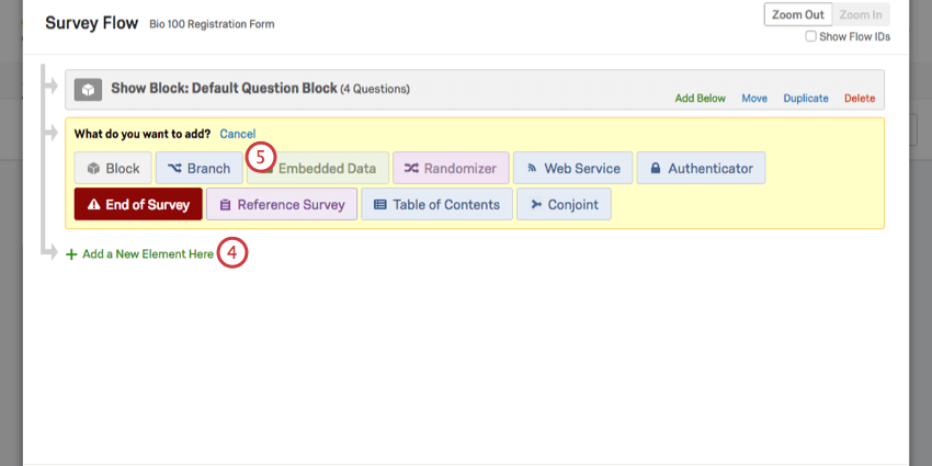 Adding an element in the Survey Flow