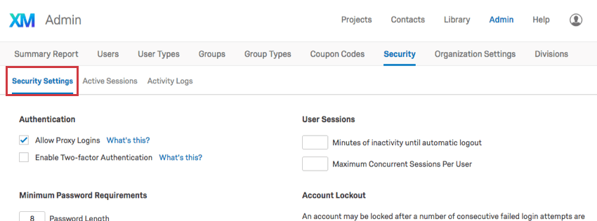 Security Settings button in the upper-left of the Security tab