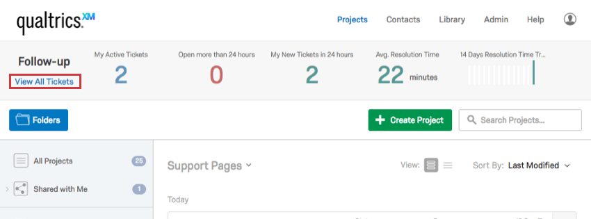 View All Tickets option in Projects Page