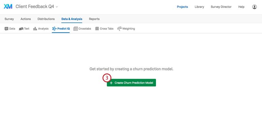 Navigating to create churn prediction model