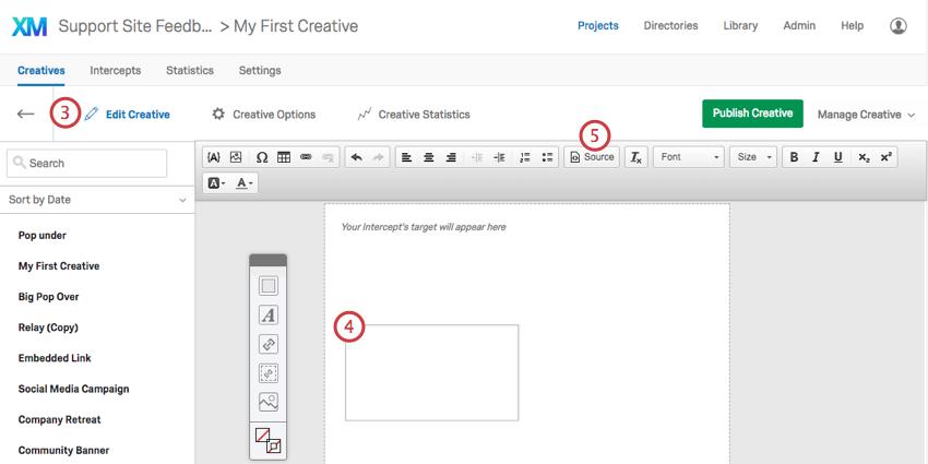 A new text box on the Edit Creative section of a Custom HTML Creative