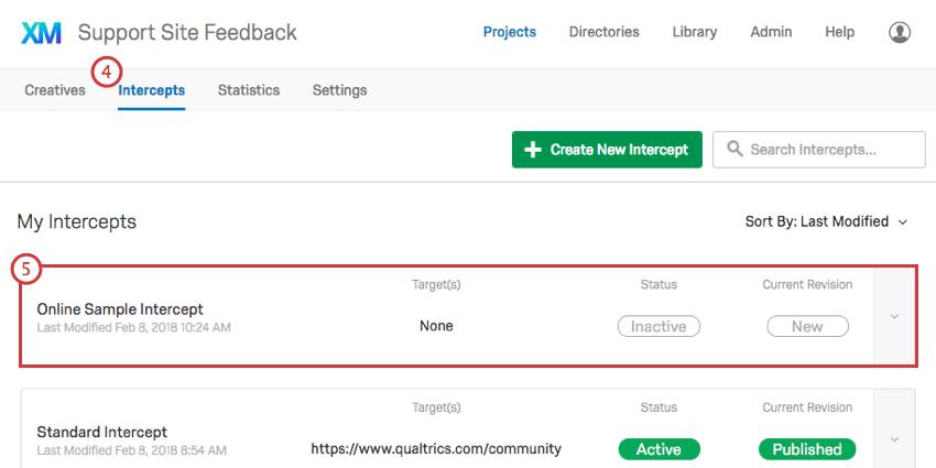 Selecting an intercept on the Intercepts tab