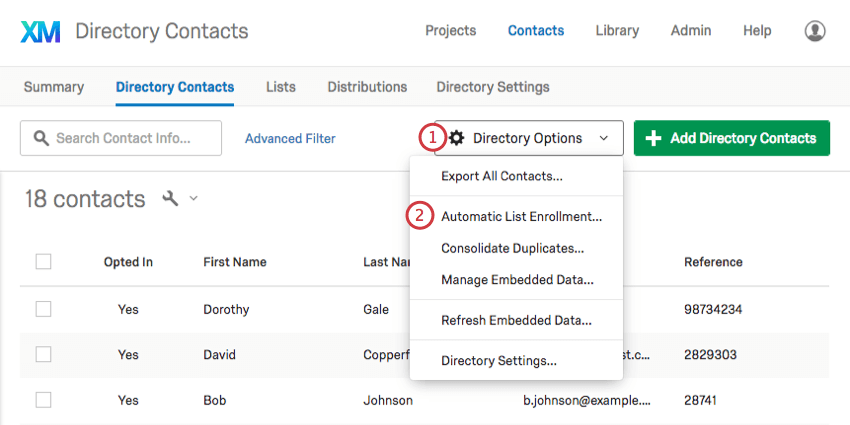 Selecting automatic list enrollment form the directory options dropdown