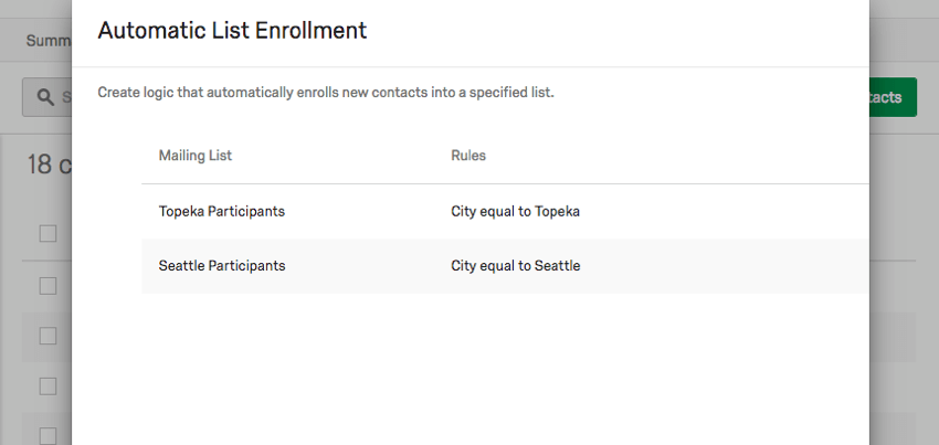 List of rules on the Automatic List enrollment window