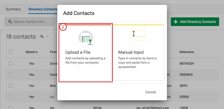 Upload file option on the left of the Add Contacts window
