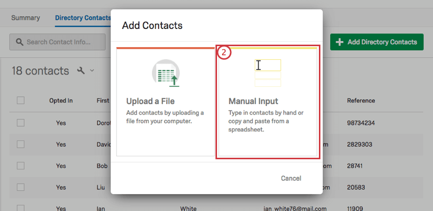 On the Add Contacts window the Manual Input option is on the right