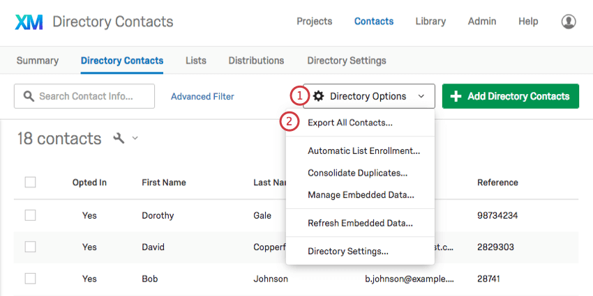 Selecting export all contacts from the directory options