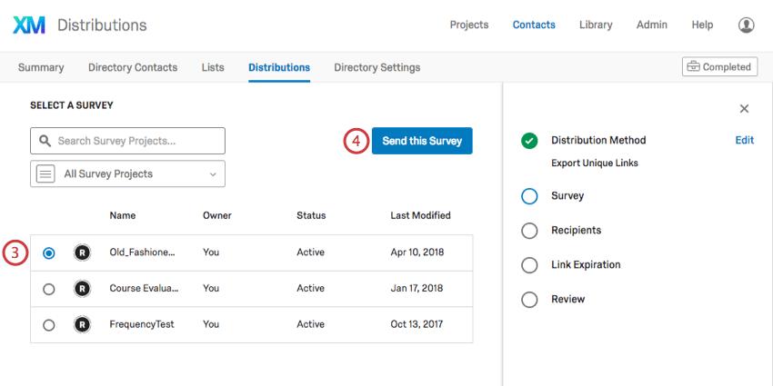 Selecting a survey