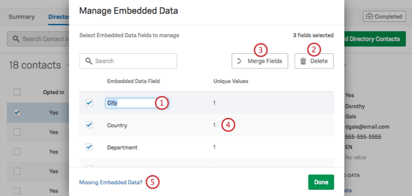 Manage Embedded Data window. 1 is a highlighted field name. 2 and 3 are delete and merge fields on the upper-right. 4 is the numbered field next to the field name. missing embedded data is on the bottom-left in blue text