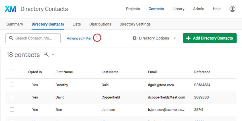 Advanced Filter link next to the search bar