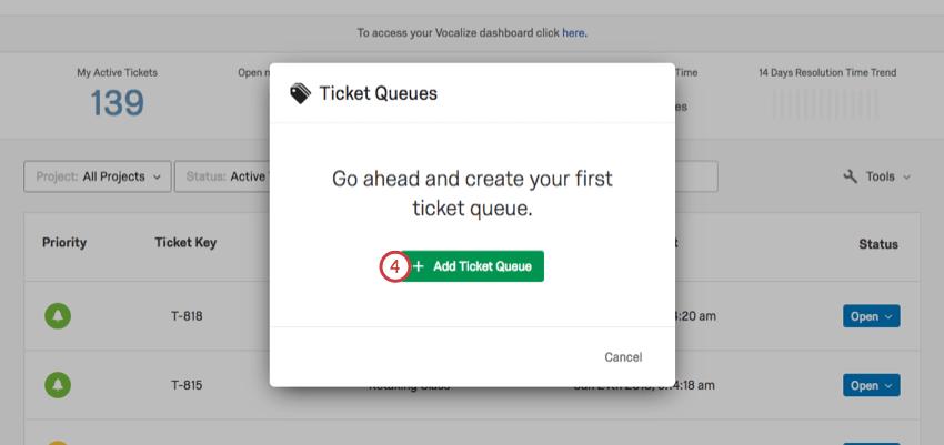 Add Ticket Queue button in green