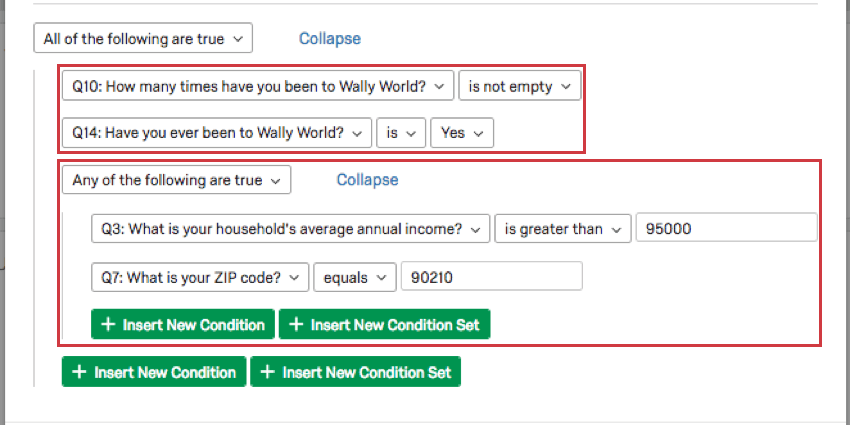 Two different condition sets marked in red to show they are indented the same