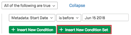 Insert new condition set button in green