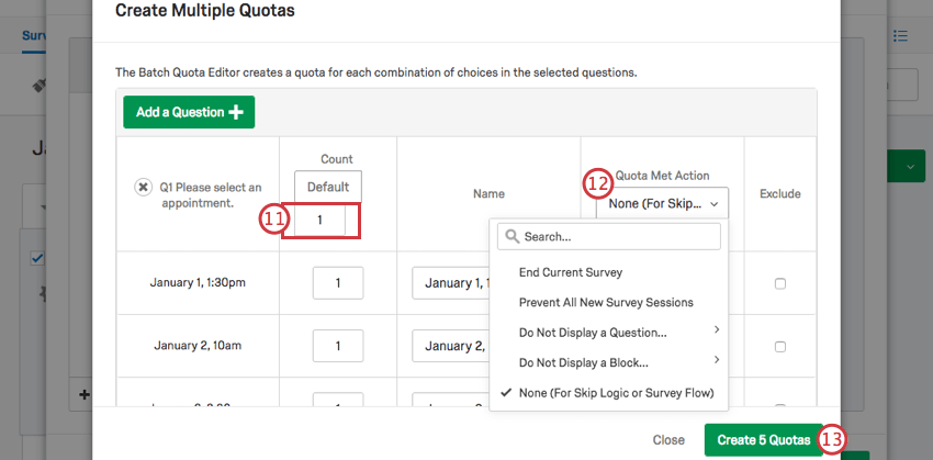 A table of quotas to be created. The top row contains default or select all changes you can make
