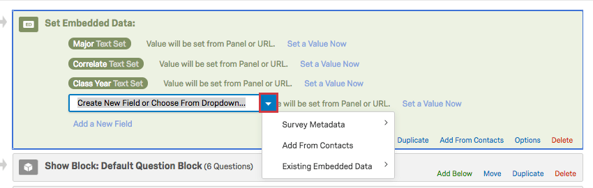 Blue dropdown on Embedded Data name