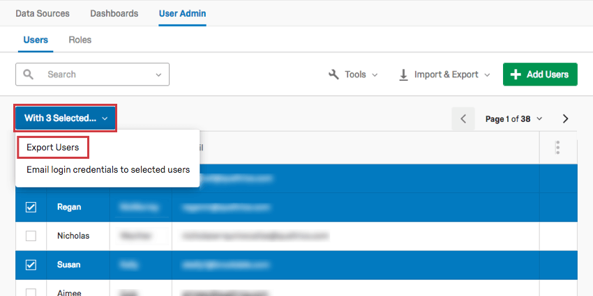 Selecting users and exporting them using the With Selected option