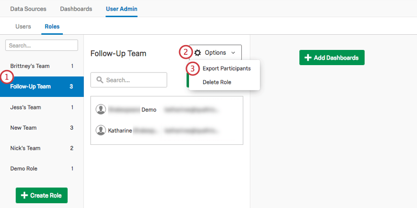Exporting users in a role
