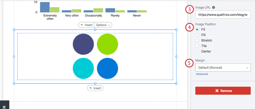 Image url and setting options on the visualization editing pane for an image