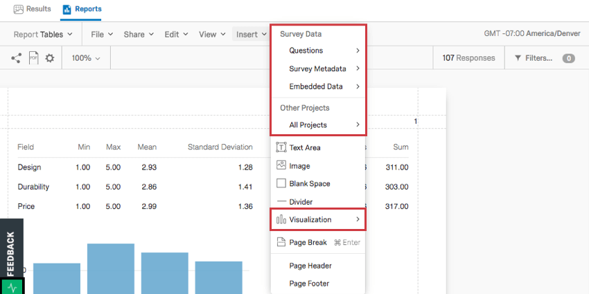 on the toolbar, insert is clicked, revealing a list of visualizations and content to be inserted