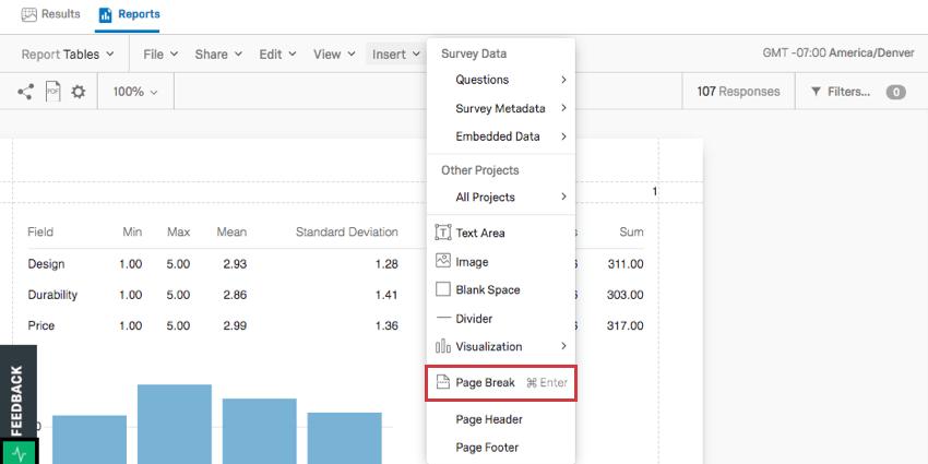 Page break option on the insert menu