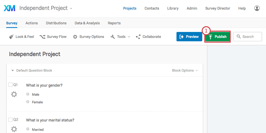 Publish button on upper-right of the survey editor