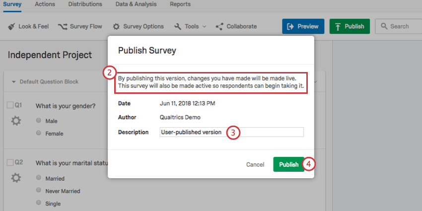 Publish window warning the survey will go active