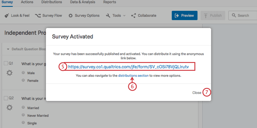 Anonymous link and distributions link on the final survey publish and activate window
