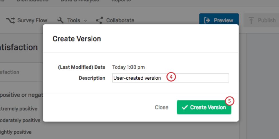 Creating a new version description